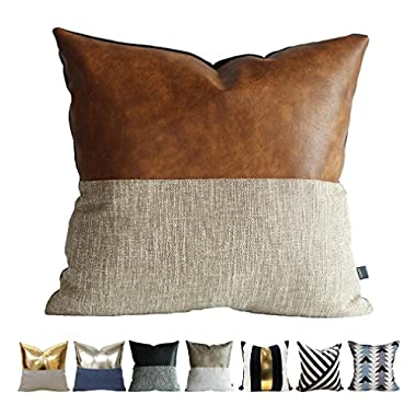 Kdays Halftan Pillow Cover Designer Modern Throw Pillow Cover Decorative Faux Leather Pillow Cover Handmade Cushion Cover 20x20 Inches