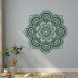 Mandala Menhdi Patrón De Flores Adhesivo De Pared Adorno Om Sala De Estar Etiqueta De La Pared Murales Yoga Arte Vinilo Mural-56Cm X 56Cm Verde