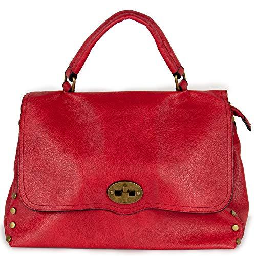 Borsa borchie rossa donna a mano borchiata da lavoro ufficio shopping per passeggio capiente tipo postino bag con tracolla giorno sera x tutti i giorni giornaliera autunno inverno 2020 2021 Rosso