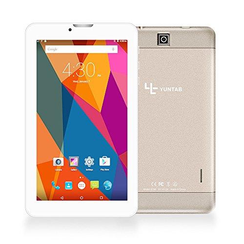 Yuntab Quad Core Tablet PC 7 pollici 8GB 1024 x 600 Android 6.01.3 GHz Dual SIM 3G WiFi (Oro)