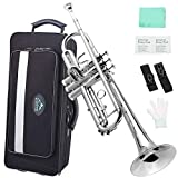 EastRock Trumpet Brass Standard Bb Trumpet Instrument Set for Beginner Student, with Hard Case,Gloves, 7C Mouthpiece, Trumpet Cleaning Kit(Nickel Plated)