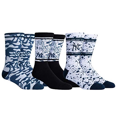 PKWY Unisex 3-Pack Yankees Crew Socks (Large (Men