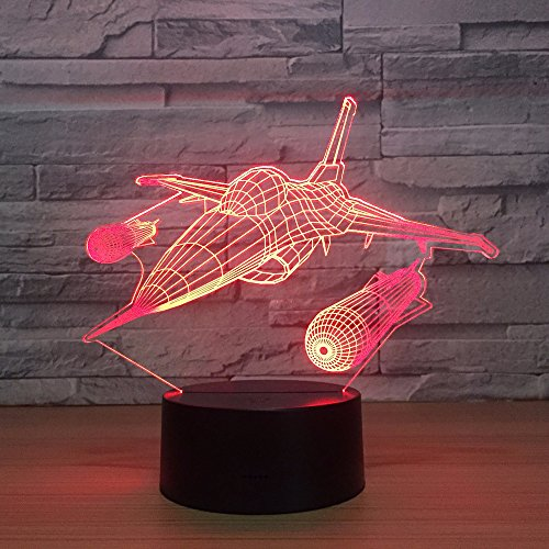 LED Night Light,Night Light with 7-Color Changing Night Light,Fighter Plane,patternbaby,Children,Bedside lamp,Children's Room,Nursery,Holiday Gift