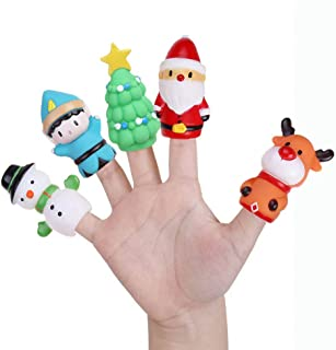 5 PCS Christmas Finger Puppets-Christmas Party Gift, Elk Santa Claus Snowman Christmas Tree Character Finger Toys for Children and Adults,Goodie Bag Fillers