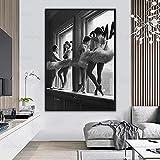 zuomo Soporte de Bailarina en la Ventana, póster de Fotos, Bailarina de Ballet en Blanco y Negro, Pintura en Lienzo, decoración de Pared, 60x80cm, sin Marco