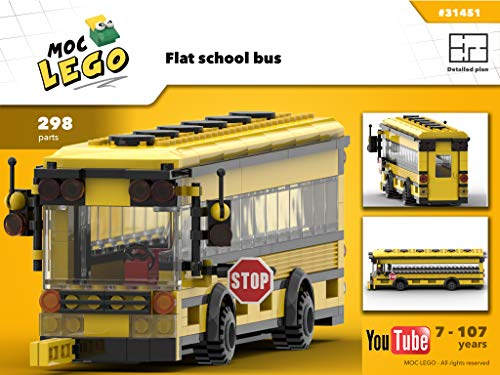 Flat school bus (Instruction Only): MOC LEGO (English Edition)