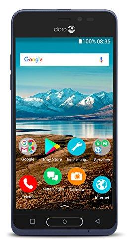 Doro 8035 Smartphone (12,7 cm (5 Zoll) Bildschirm, 5MP Kamera, 16GB Speicher) dunkelblau