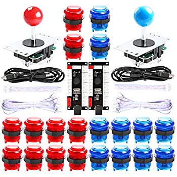 Qenker 2-Player LED Arcade DIY Kit for USB MAME PC Game DIY & Raspberry Pi Retro Controller DIY Including 2X Arcade Joystick 20x LED Arcade Buttons 2X Zero Delay USB Encoder  Blue & Red