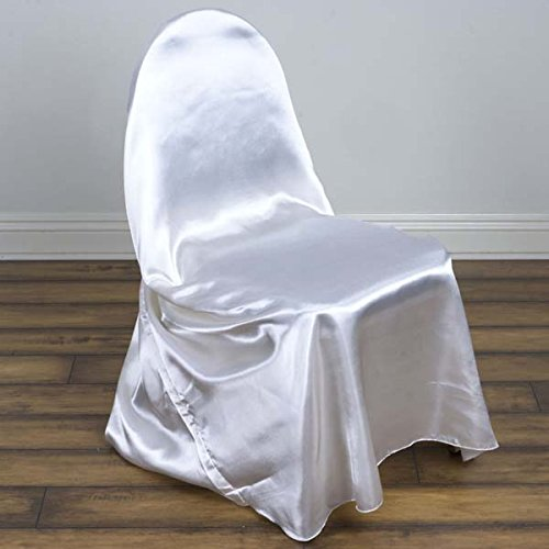 Tableclothsfactory 40 PCS White Silky Satin Universal Chair Covers Fits All Type of Chairs Event Dinning Slipcover for Wedding Party