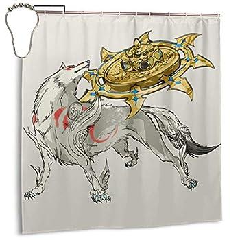 Okami Rain Shower Curtain Bathtub Shower Curtains Waterproof Bathroom Shower Curtain with 12 Iron Hooks  72x72 Inch