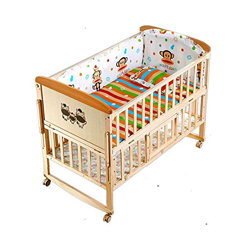 Best Review Of XY Crib No Paint Wooden Baby Cot Bed, Multifunctional Baby Shaker with Universal Whee...