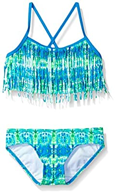 Kanu Surf Girls' Big Kelly Beach Sport Fringe 2-Piece Bikini Swimsuit, Kayla Blue/Green Tie-Dye, 14