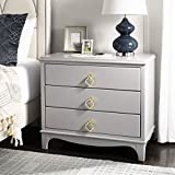 Safavieh Home Collection Hannon 3 Drawer Contemporary Nightstand End Table, Grey/Brass