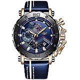 Lige, orologio sportivo da uomo, impermeabile, cronografo, stile casual, analogico, al quarzo, di lusso, in pelle militare Orologio di lusso Oro blu