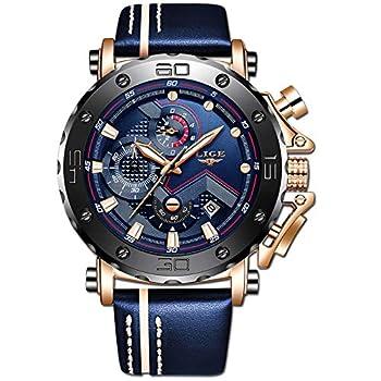 LIGE Men s Watch Fashion Luxury Blue Analogue Quartz Watch Classic Blue Belt Watch