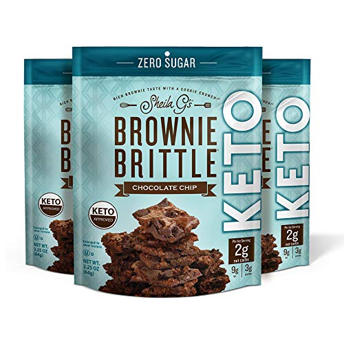 Sheila G's Brownie Brittle Keto Chocolate Chip-No Added Sugar, Ketogenic Diets, Diabetic, Diet Foods, Sweets & Treats Dessert, Low Carb Healthy Chocolate, Sweet Thin Brownie Cookie Snack- 2.25oz, 3 Pk