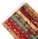 Ucradle Geschenkpapier für Weihnachten, 9 Stück Ultradickes Weihnachtenpapier Hochwertige Geschenkverpackung Packpapier, 70 * 50cm
