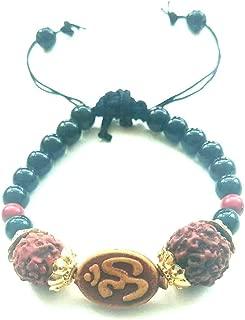 Hindu/Punjabi/Sikh Golden RUDRAKSH OHM (AUM) Bracelet for Men/Women Adjustable to All Wrist Size