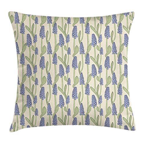 Pastel Kussen Kussensloop, Patroon Druif Hyacint Planten in Vintage Graveerstijl, Decoratieve Vierkante Accent Kussensloop, 18 X 18 Inch, Beige Lavendel Blauw Lichtgroen