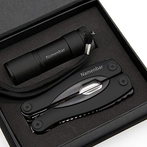 Multitool + Taschenlampe mit persönlicher Gravur, 9 teilig mit 12 verschiedenen Funktionen (Schwarz)