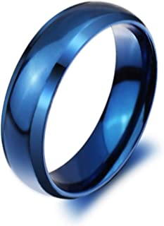 Classic Flat Polished Titanium Steel Wedding Band Ring 6mm Width Size 4-14