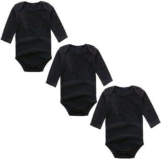 BINIDUCKLING Baby Mädchen Body 3-Pack Langarm Einfarbig