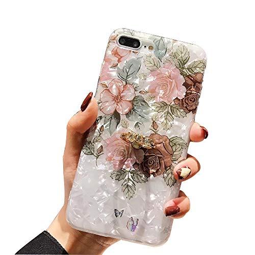 WYCcaseA Funda Compatible para iPhone 12/12 Mini/12 Pro MAX Carcasa con Anillo Giratorio De 360 Grados Concha Patrón Anti Rasguños Anti Arañazos,Verde,12pro