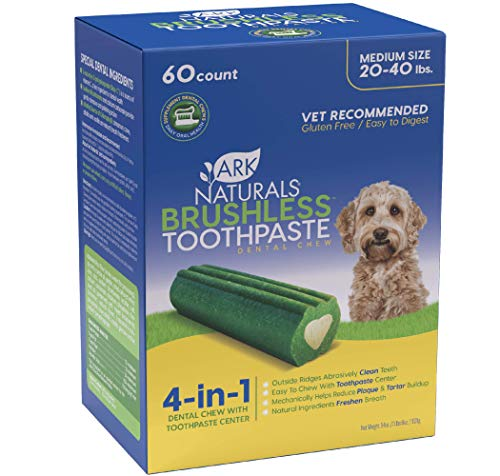 Ark Naturals Brushless Toothpaste Value Pack Dog Dental Chews for Medium Breeds Vet Recommended for Plaque Bacteria amp Tartar Control 1 Value Pack Packaging May Vary