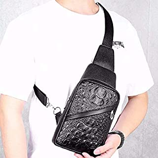 WTYD Single Shoulder Bag Crocodile Texture PU Leather Single Shoulder Bag Men Chest Bag Handbag (Black) (Color : Black)