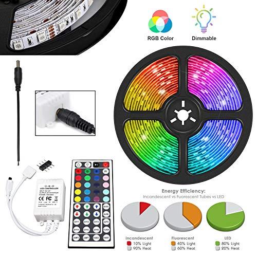 UltraBright 1m 2m 3m 4m 5m Mehrfarbig 12V Nicht Wasserdicht IP20 5050 SMD RGB LED Fee Beleuchtung Strip Licht Streifen inkl. 44 Tasten IR Fernbedienung, Controller (5 Meter)