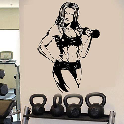 WERWN Culturismo Fitness Pared Deportes músculo Barra Femenina Etiqueta de la Pared Vinilo Arte Mural decoración Gimnasio diseño