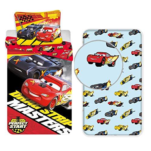Cars Team 95 (rojo) 3 piezas Juego de cama individual funda nórdica + funda de almohada + sábana bajera ajustable algodón Ropa de cama infantil