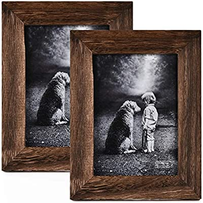 Yaetm-5x7 Picture Frame, Natural Solid Wood Photo Frame Display for Tabletop and Wall High Definition Glass Carbonized Black(2 Pack)