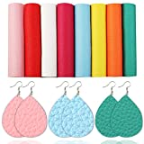 David Angie A5 Size Bright Color Lychee Grain Faux Leather Sheet Precut PU Synthetic Leather Sheet 8pcs Assorted for Earrings Bows Making (Bright Color)