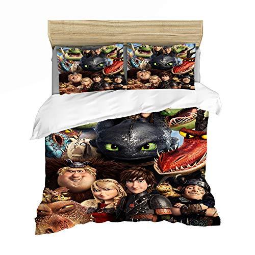Bettwäsche How to Train Your Dragon, 100 % Mikrofaser, Bettbezug und Kissenbezug, 3D-Digitaldruck, für Kinder und Jugendliche (A,140 x 210)