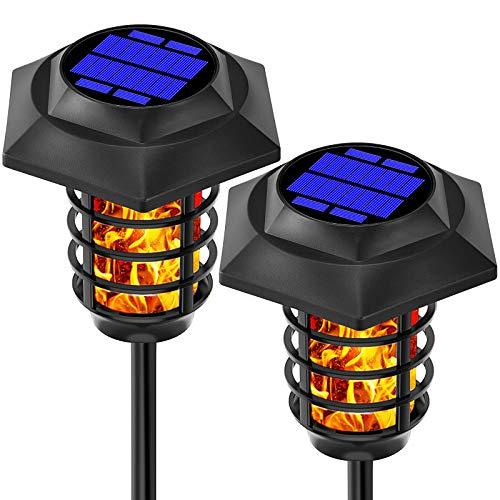 PinYi Solarlampen für Außen, Gartenleuchte mit Dämmerungssensor Solar Fackel und Tageslicht-Weiß Solarleuchte für Terrasse Rasen Garten, 2 Stück