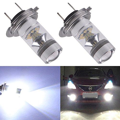 TABEN Lot de 2 ampoules LED H7 100 W haute puissance 1600 lumens extrêmement lumineuses avec projecteur pour feux de jour ou feux de brouillard, blanc xénon