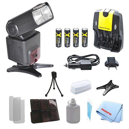 SB1010 Pro Series Flash + 4 Batteries + Home/Car Charger for Nikon D90, D7100, D600, D610, D300, D300S, D700, D800, D800E, D1H, D2H with a Complete Starter Kit
