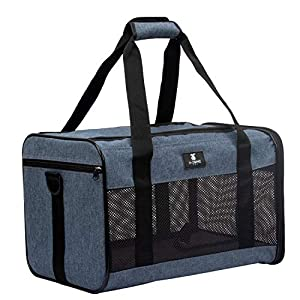 X-ZONE PET Airline Approved Soft-Sided Pet Travel Carrier for Dogs and Cats, Medium Cats Small Cats Carrier,Dog Carrier for Small Dogs, Portable Pet Travel Carrier (Medium, Blue)