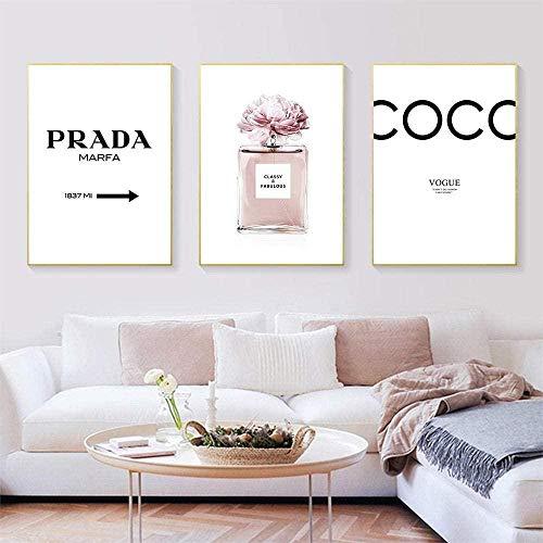 THRONI Quadro Moderno Bottiglia di Profumo di Rose Poster Stampe Fiore Astratto Moda Wall Art Dipinti Vogue Stampa su Tela 3 Pezzi Immagini a Parete Soggiorno Decorazioni per la casa Dimensione 2