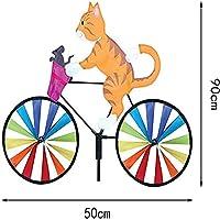 自転車動物風車自転車風スピナー漫画動物乗馬三次元自転車風車芝生屋外庭の装飾風車屋外のおもちゃ2個 Yellow