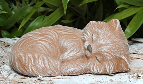 Tiefes Kunsthandwerk Steinfigur Katze schlafend - Terrakotta, Garten, Deko, Stein, Figur, Frostsicher