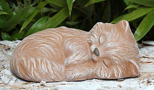 Steinfigur Katze schlafend - Terrakotta, Garten, Deko, Stein, Figur, Frostsicher