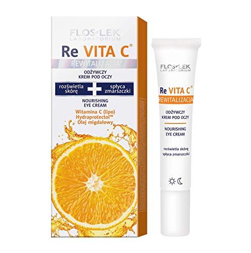 FLOSLEK Pflegende Augen-Creme | 15 ml | Hellt auf, Spendet Feuchtigkeit, Glättet | für Menschen ab 40 Jahre mit Reife Haut | Dermatologisch getestet | Hergestellt in der EU