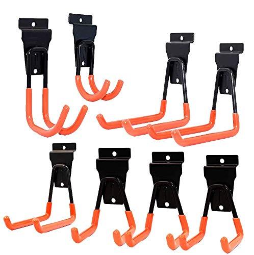 Slatwall Hooks,Ladder Hooks Slatwall Heavy Duty Garage Storage Utility Double Hooks for Organizing Power Tools,Ladders,Bulk items (Pack of 8)