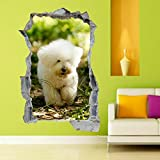 Stickers muraux poster Chiot Chien Animal 3D Mural Decal Kids Room Decor 50x70cm