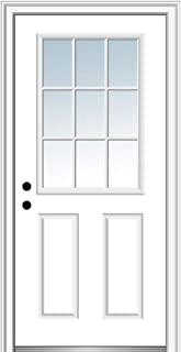 National Door Company ZZ00693R Steel Primed, Right Hand in-Swing, Prehung Front Door, 9 Lite 2-Panel External Grilles, Clear Glass, 34