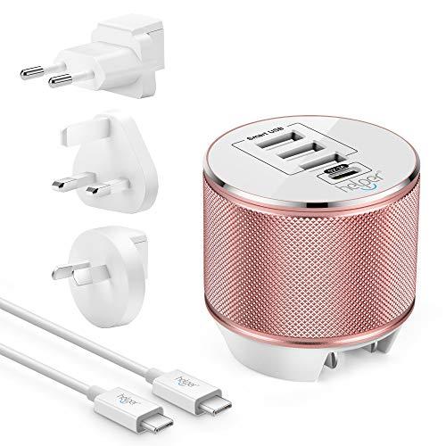 USB Typ C Ladegerät, 5V/3A 15W Type C Reiseladegerät 4 Ports mit Adapter-Schnellladegerät für MOTO Z,Nintendo switch, Note 5, Google Pixel/Pixel XL, LG G5, HTC & alle Type-C-Handys und Tablets