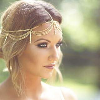 Boho Gold Draping Crystal Hair Cuff Arabian Bridal Hair Accessories Wedding Chain Headpiece Elegant Wedding Hairstyles