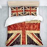 Juego de Funda nórdica de 3 Piezas, Bandera del Reino Unido o Union Jack Grunge, Juego de Funda nórdica de Calidad hotelera